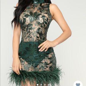 Fashion nova Midnight in Paris feather dress